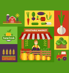 vegetable market local farm products vector image