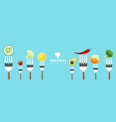 vegetables on forks on colorful background vector image
