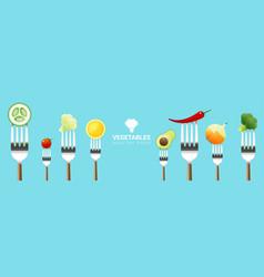 vegetables on forks on colorful background vector image