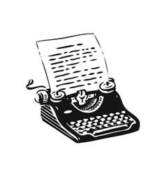 vintage typing machine symbol hand drawn retro vector image