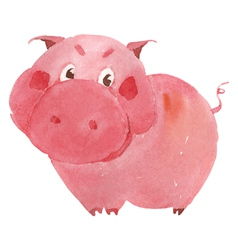 Watercolor pig vector