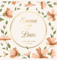 Wedding invitation gypsophila flowers crimson gold vector