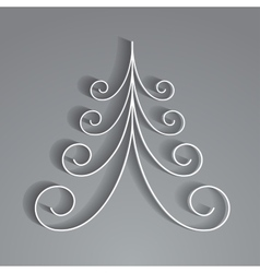 White paper christmas tree vector image
