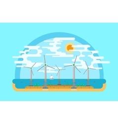 Wind generators sea flat ground vector