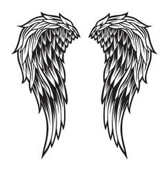 Wings bird black white 777 vector