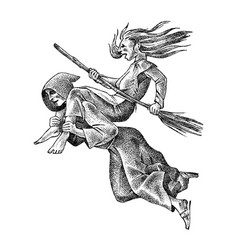 Witch flies with a broom and a monk ancient vector