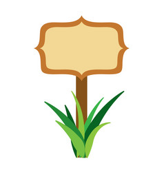 wooden board on a grass empty vector image