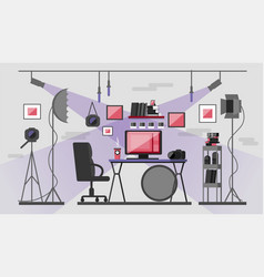 workplace of the photographer photo equipment and vector image