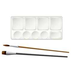 A topview of the paintbrushes and an ink tray vector image vector image