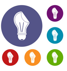 bulb sticker icons set vector image