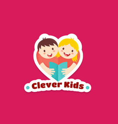 clever kids abstract sign emblem or logo vector image