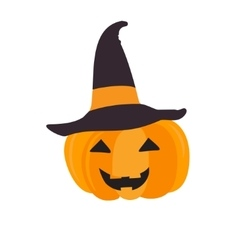 Halloween pumpkin with black witch hat abstract vector