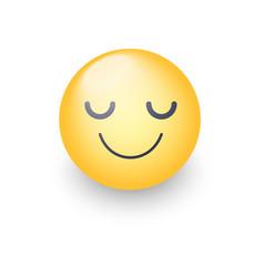 happy cartoon emoji face with closed eyes smiling vector image vector image