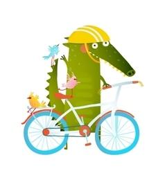Cartoon green funny crocodile in helmet with vector image vector image