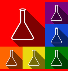 conical flask sign set of icons with flat vector image