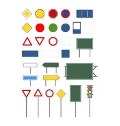 Set of empty blank different road signs on white vector image vector image