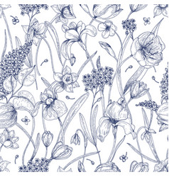 beautiful natural seamless pattern with spring vector image vector image