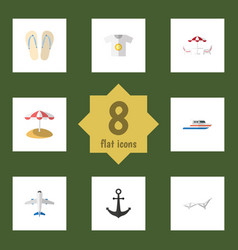 Flat icon season set of deck chair parasol boat vector