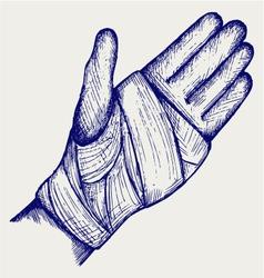 Hand tied elastic bandage vector image