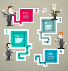 Infographics with Businessmen and Four Steps Paper vector image vector image