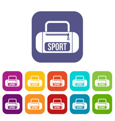 sports bag icons set vector image vector image