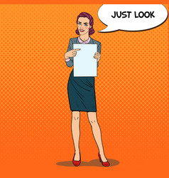 Pop art business woman pointing on paper sheet vector