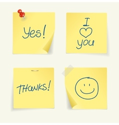 set of yellow sticky Notes and text vector image vector image