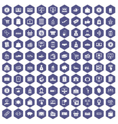 100 payment icons hexagon purple vector