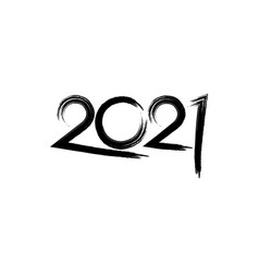 2021 happy new year brush stroke style isolated vector image