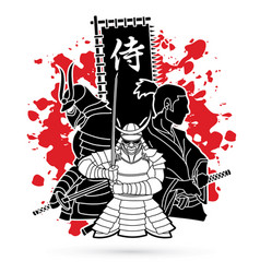 3 samurai composition with flag japanese font vector