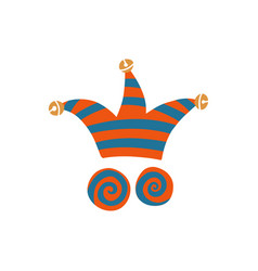 A jester hat with crazy eyes for vector