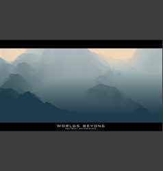 Abstract gray landscape with misty fog till vector