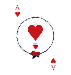 Ace hearts surrounded a circle thorns vector