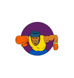 Amateur boxer punching circle drawing vector