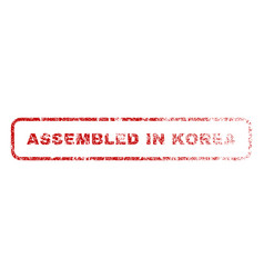 Assembled in korea rubber stamp vector