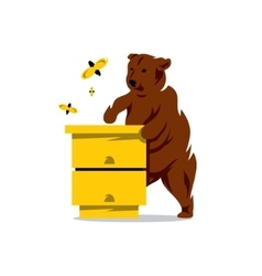 Bear Bees and Hive Cartoon vector