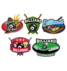 billiard badge design set vector image