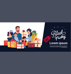 Black friday sale poster with happy family over vector