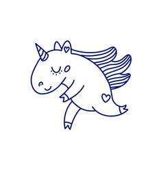 blue linear unicorn on white background vector image