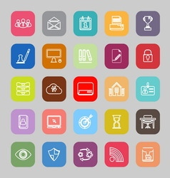 Business management line flat icons vector