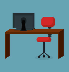 Business office workplace with computer vector