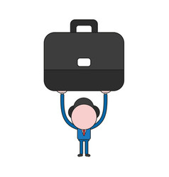businessman character holding up briefcase color vector image