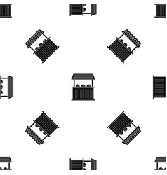 Carnival fair booth pattern seamless black vector
