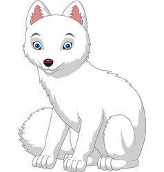 Cartoon arctic fox isolated on white background vector