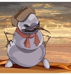 Cartoon evil scary snowman vector