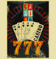 casino vintage grunge style poster vector image