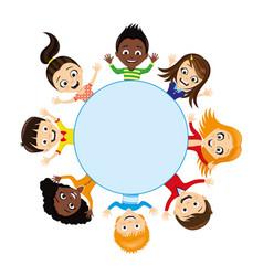 cheerful children around a blue background vector image