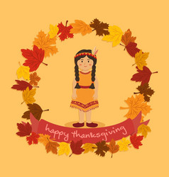 circle autumn leaf thanksgiving indian braid girl vector image