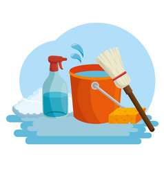 cleaning supplies with bucket sponge and spray vector image