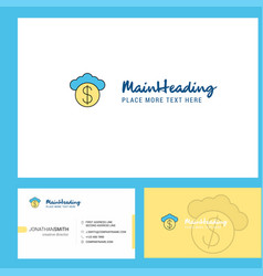 cloud dollar logo design with tagline front and vector image